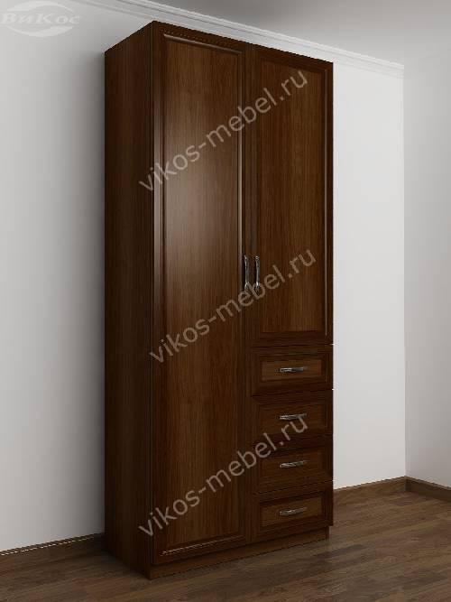 Двухдверный шкаф для одежды и белья с ящиками в спальню цвета яблоня