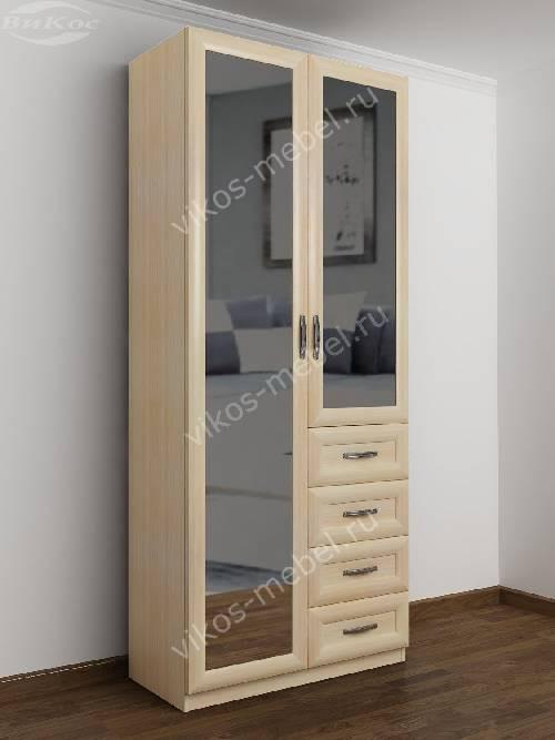 Двухдверный шкаф для одежды и белья с ящиками в спальню цвета молочный беленый дуб