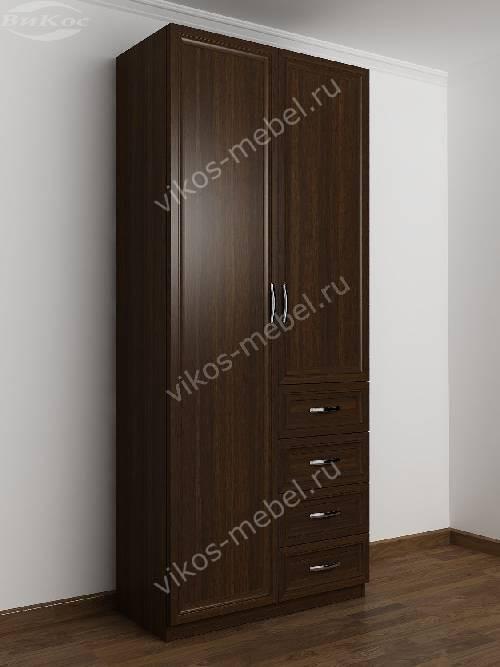 Двухдверный шкаф для одежды и белья с ящиками в спальню цвета венге