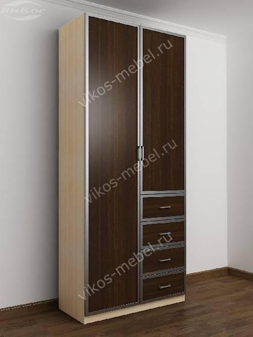 Двухдверный шкаф для одежды и белья с ящиками в спальню цвета беленый дуб - венге