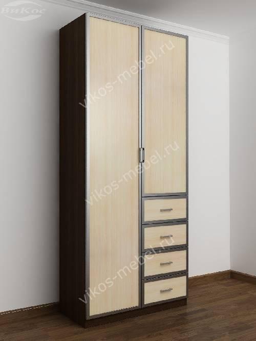 Двухдверный шкаф для одежды и белья с ящиками в спальню цвета венге - молочный дуб