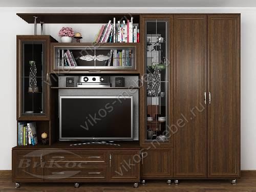 """Классическая мебельная стенка """"аврелия-5"""" для спальни с вместительным шкафом цвета венге"""