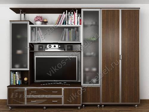 """Мебельная стенка """"аврелия-5"""" для спальни с вместительным шкафом цвета венге"""
