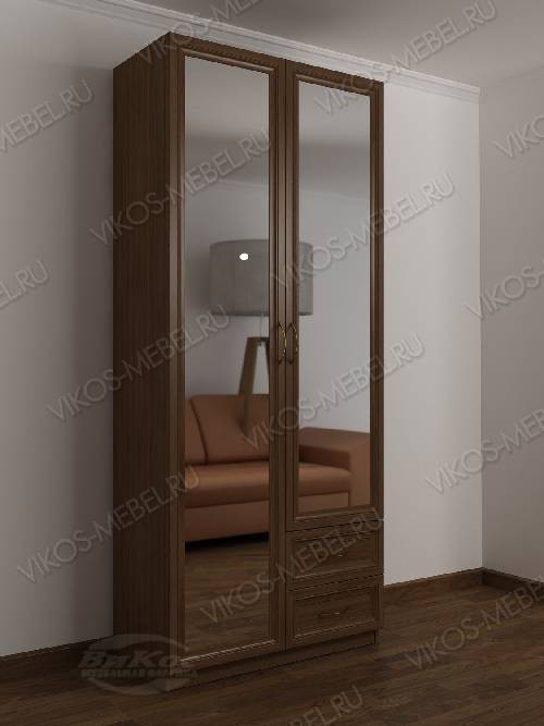 Распашной шкаф в коридор шириной 80-90 см цвета шимо темный