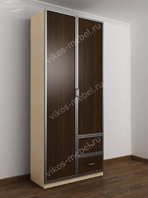 Распашной шкаф в коридор шириной 80-90 см цвета беленый дуб - венге
