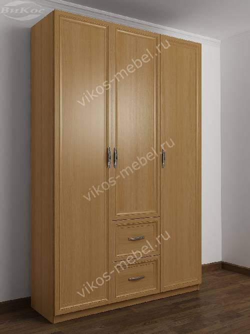 3-дверный шкаф для одежды в прихожую с выдвижными ящиками цвета бук