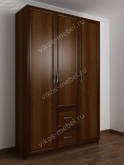 3-дверный шкаф для одежды в прихожую с выдвижными ящиками цвета яблоня