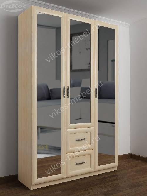 3-дверный шкаф для одежды в прихожую с выдвижными ящиками цвета молочный беленый дуб