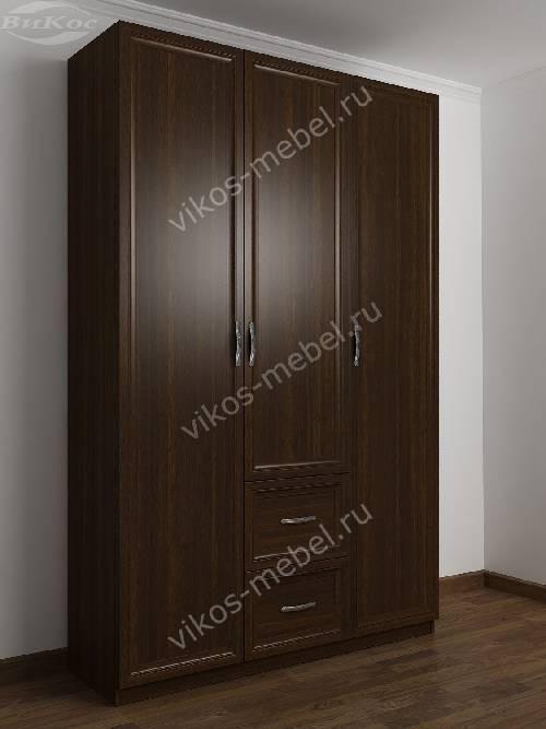3-дверный шкаф для одежды в прихожую с выдвижными ящиками цвета венге