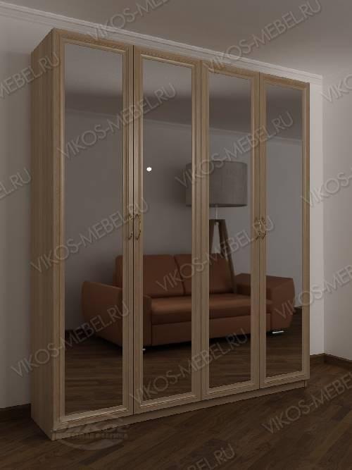 4-створчатый шкаф с распашными дверцами для спальни с зеркальной дверью цвета шимо светлый