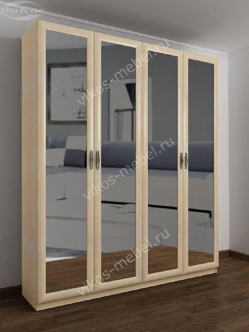 4-створчатый шкаф с распашными дверцами для спальни цвета молочный беленый дуб