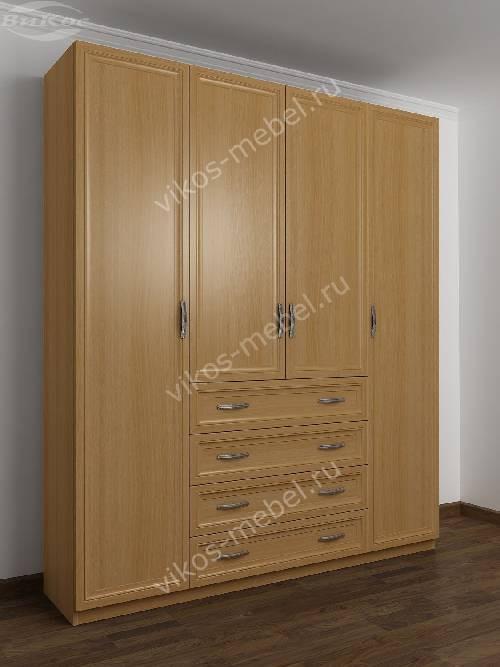 4-дверный шкаф с распашными дверями для спальни с ящиками для мелочей цвета бук