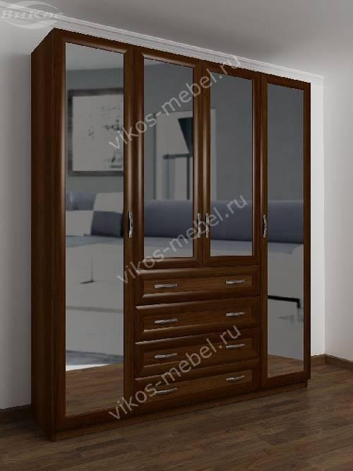 4-дверный шкаф с распашными дверями для спальни с ящиками для мелочей цвета яблоня
