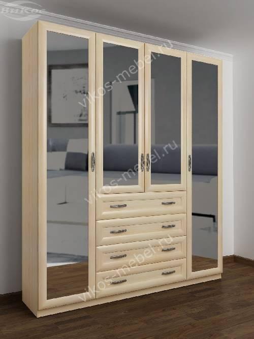 4-дверный шкаф с распашными дверями для спальни с ящиками для мелочей цвета молочный беленый дуб