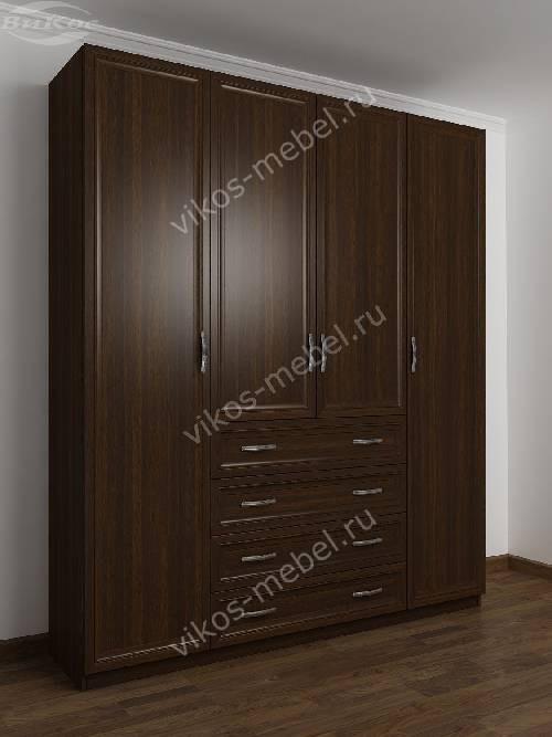 4-дверный шкаф с распашными дверями для спальни с ящиками для мелочей цвета венге