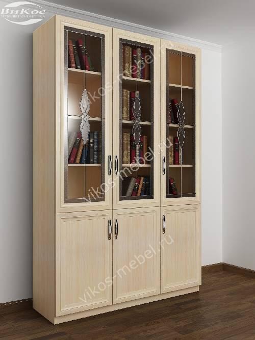 Трехстворчатый книжный шкаф со стеклом с витражом цвета молочный беленый дуб