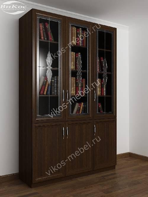 Трехстворчатый книжный шкаф со стеклом c витражным стеклом цвета венге