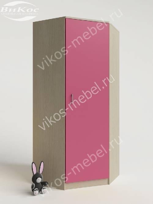 Угловой детский шкаф для одежды для одежды для девочки розового цвета