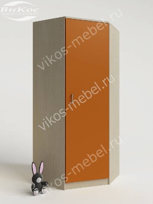 Угловой детский шкаф для одежды для одежды для девочки оранжевого цвета
