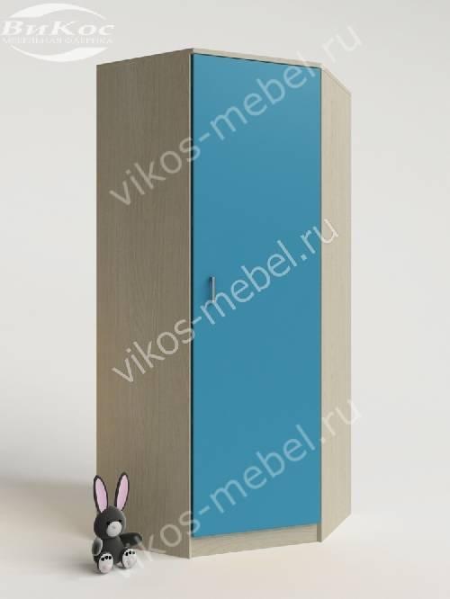 Угловой детский шкаф для одежды для одежды для парня цвета мармара голубой