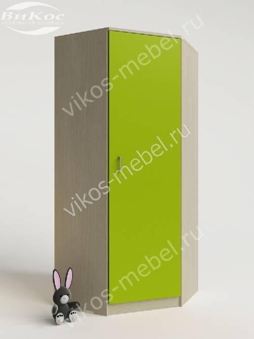 Угловой детский шкаф для одежды для одежды цвета зеленый лайм