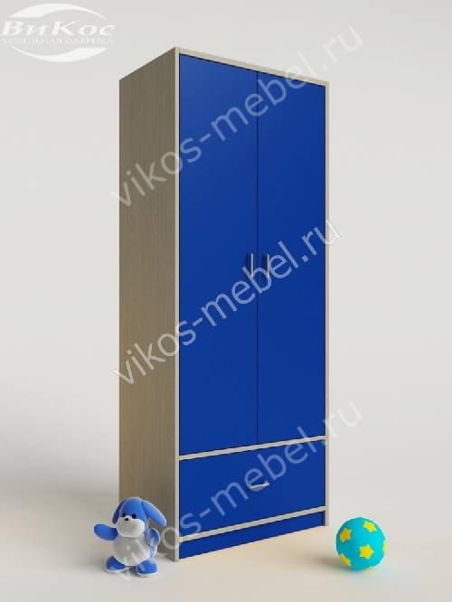 Мальчуковый шкаф в детскую для одежды синего цвета