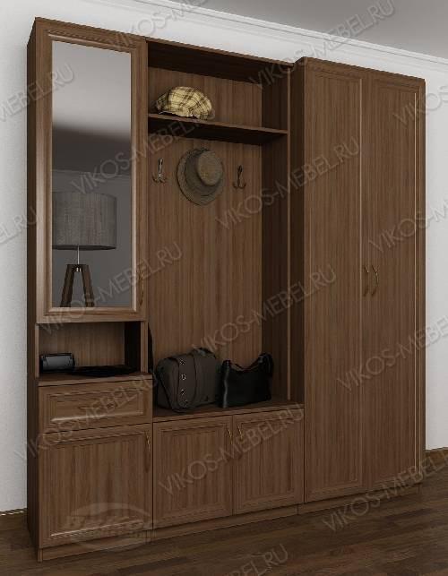 Классическая прихожая с открытой частью со шкафом цвета шимо темный