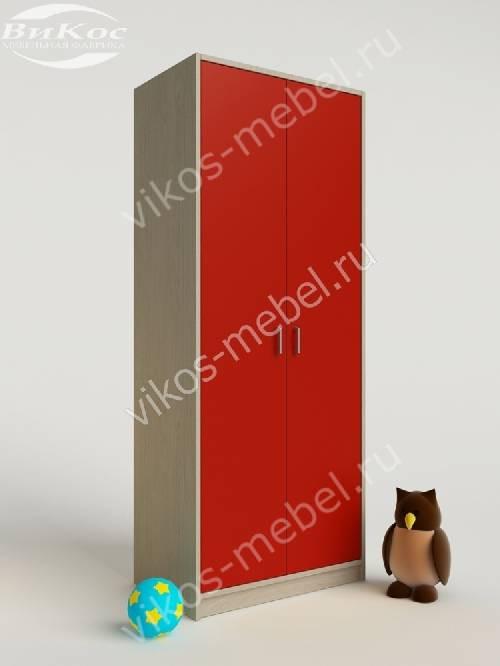 Платяной детский распашной шкаф для девочки красного цвета