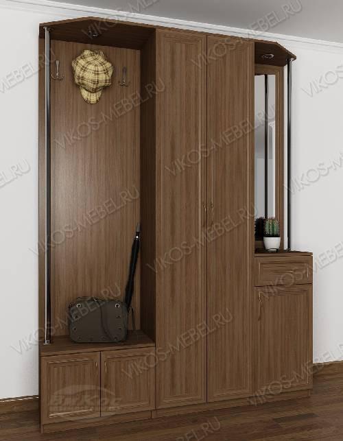 Малогабаритная прихожая в коридор со шкафом в классическом стиле цвета шимо темный