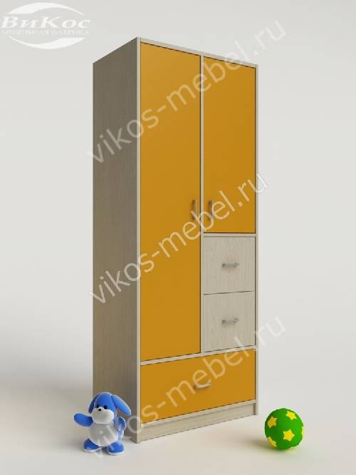 Детский шкаф для одежды для одежды с ящиками желтого цвета