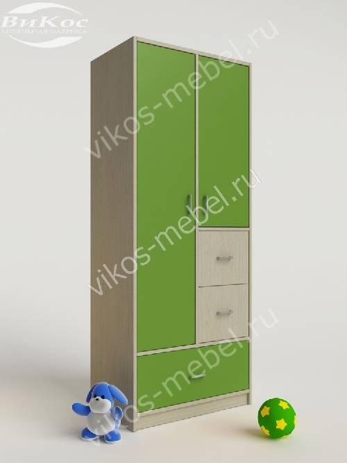 Детский шкаф для одежды для одежды с ящиками зеленого цвета