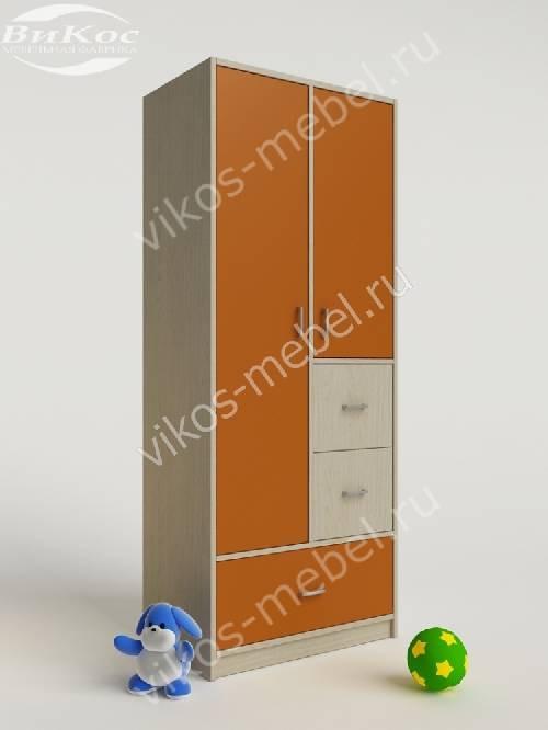 Детский шкаф для одежды для одежды с ящиками для девочки оранжевого цвета