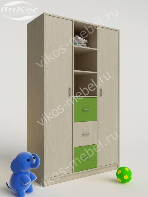 Платяной детский шкаф для игрушек с выдвижными ящиками зеленого цвета