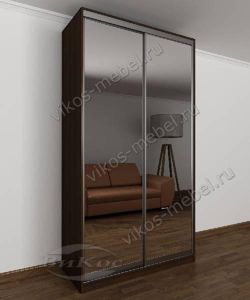 2-створчатый зеркальный шкаф купе в спальню цвета венге