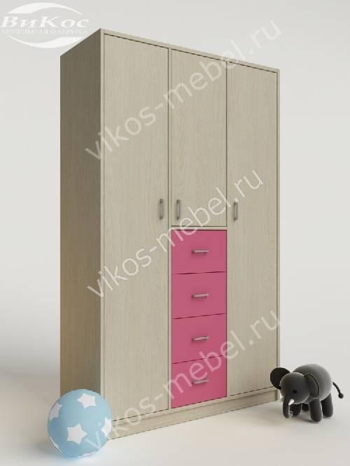 Девчачий шкаф в детскую для одежды с ящиками для мелочей розового цвета