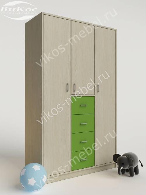 Шкаф в детскую для одежды с ящиками для мелочей зеленого цвета