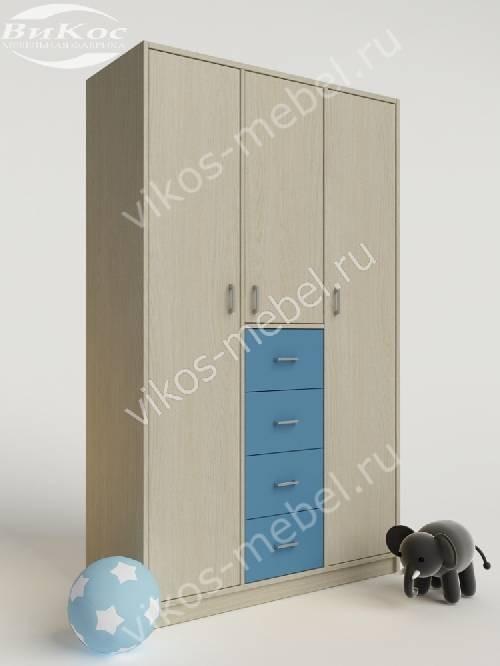 Мальчуковый шкаф в детскую для одежды с ящиками для мелочей голубого цвета