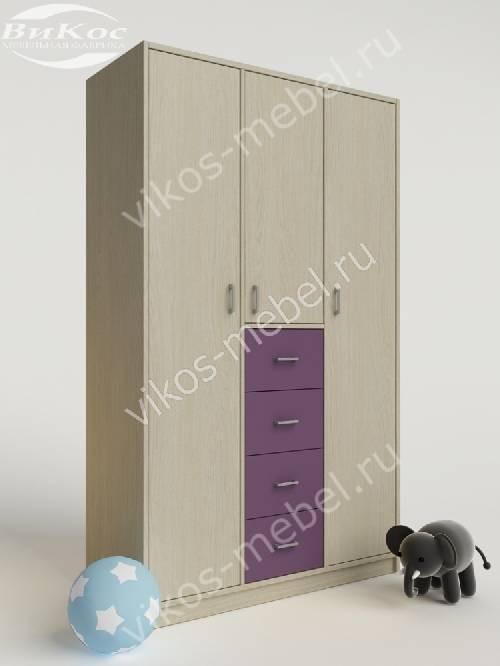 Шкаф в детскую для одежды с ящиками для мелочей филетового цвета