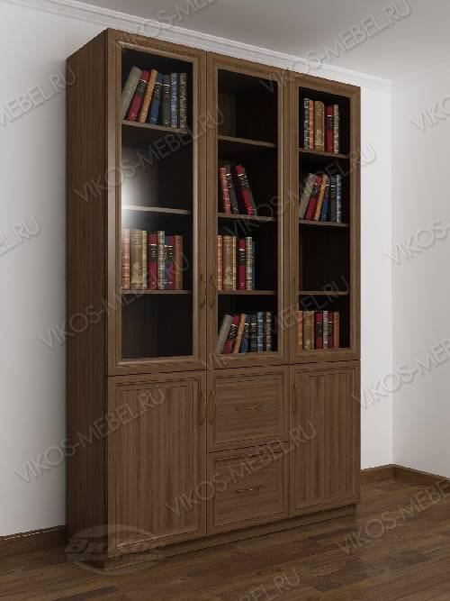 Трехдверный книжный шкаф со стеклянными дверями цвета шимо темный