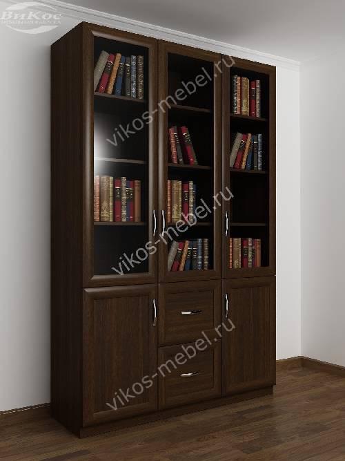 Трехдверный книжный шкаф со стеклянными дверями цвета венге