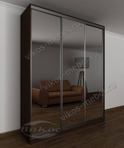 3-створчатый купе с зеркальной дверью в спальню цвета венге