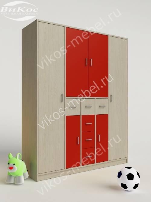 Платяной детский распашной шкаф с ящиками для девочки красного цвета