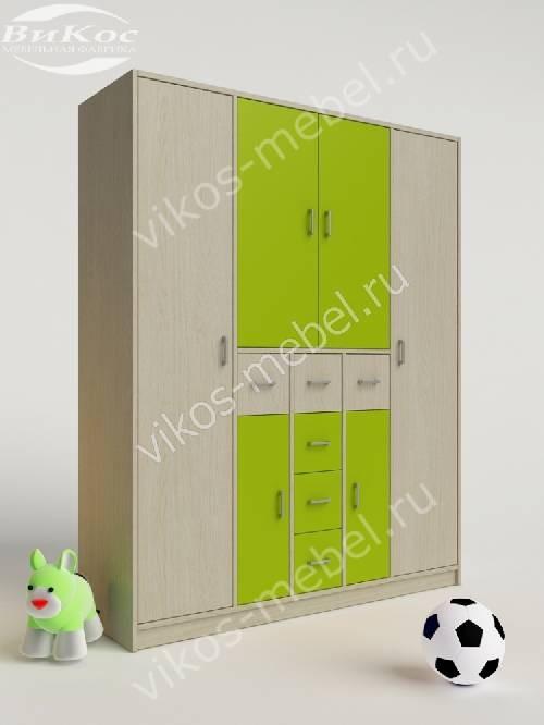 Платяной детский распашной шкаф с ящиками цвета зеленый лайм