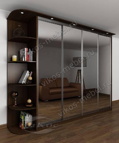 Четырехдверный шкаф с раздвижными дверями с подсветкой для спальни цвета венге