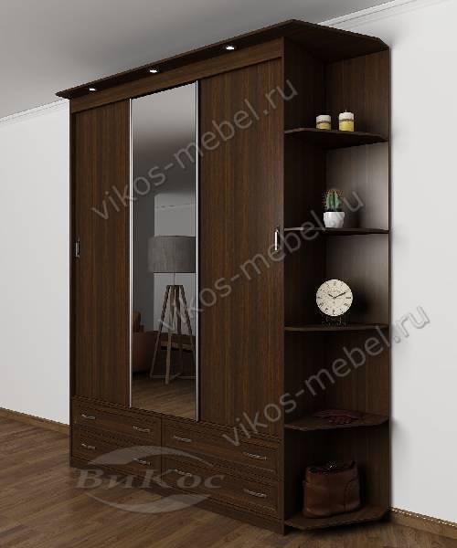 Шкаф с раздвижными дверями для спальни с ящиками с зеркалом шириной 120-135 см цвета венге