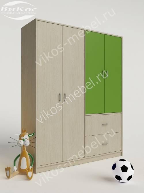 Детский шкаф для одежды для одежды с выдвижными ящиками зеленого цвета