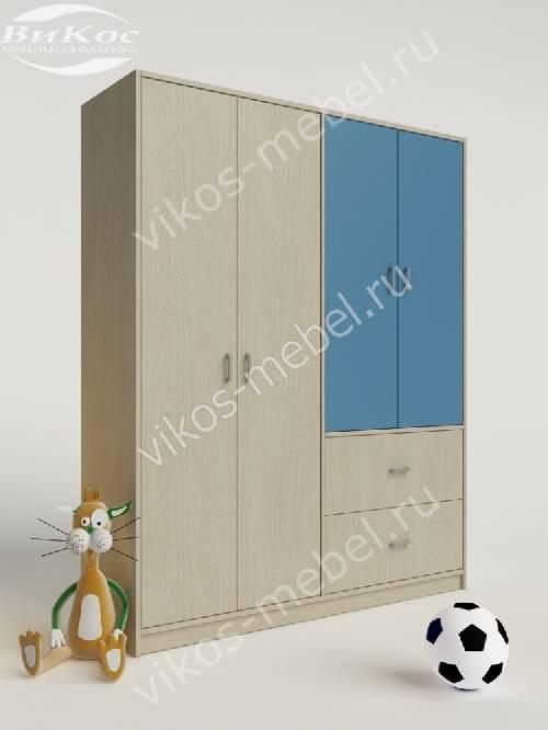 Детский шкаф для одежды для одежды с выдвижными ящиками для парня голубого цвета