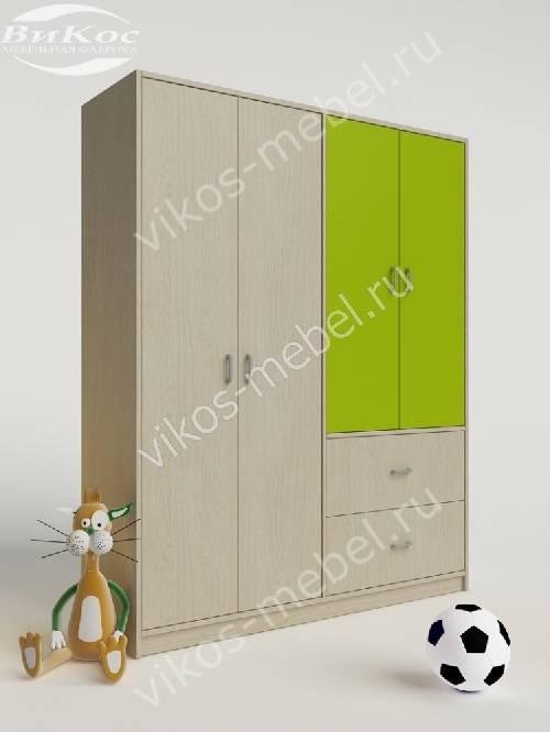 Детский шкаф для одежды для одежды с выдвижными ящиками цвета зеленый лайм
