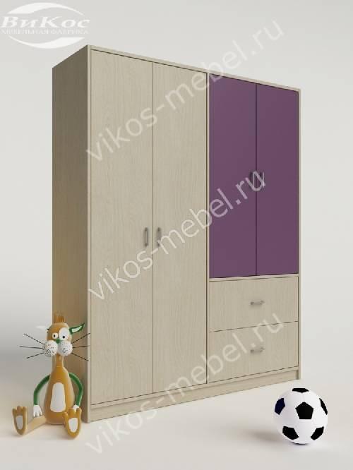 Детский шкаф для одежды для одежды с выдвижными ящиками филетового цвета