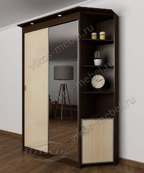 Двухстворчатый шкаф купе с подсветкой с зеркальной дверью в спальню цвета венге - молочный дуб